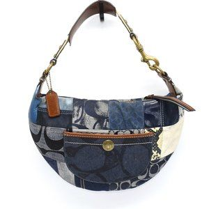 Coach Indigo Denim Patchwork Hobo Baguette   Blue